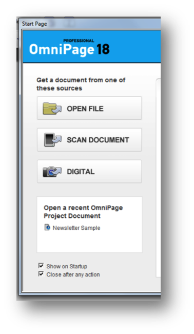 OmniPage Start page sample screen shot