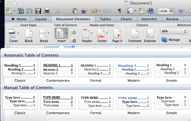 Screen capture for table of contents tool for Mac
