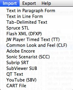 MovieCaptioner's Import menu. Includes text options, STL, Flash XML, SCC, SRT, Quicktime, YouTube Cart and others