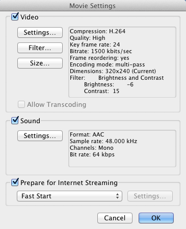 The Movie Settings menu, with which you can choose your movie's quality and its compression type