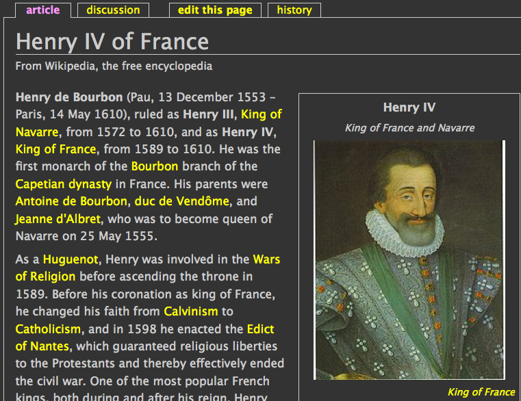 Portrait of Henry IV on page with dark gray background, white text, and links in yellow.