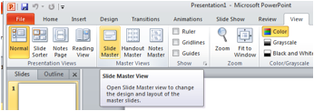 Description: visual aid highlighting the Slide Master Slide view.