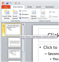 Description: Sample view of the 'Office Theme Slide Master' slide.