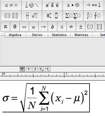 MathType screen with templates for fractions, square roots, Sums plus math symbols