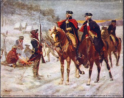 Geroge Washington and Lafayette on horseback talking to soldiers in snow at Valley Forge