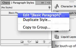 Paragraph styles pane to be edited