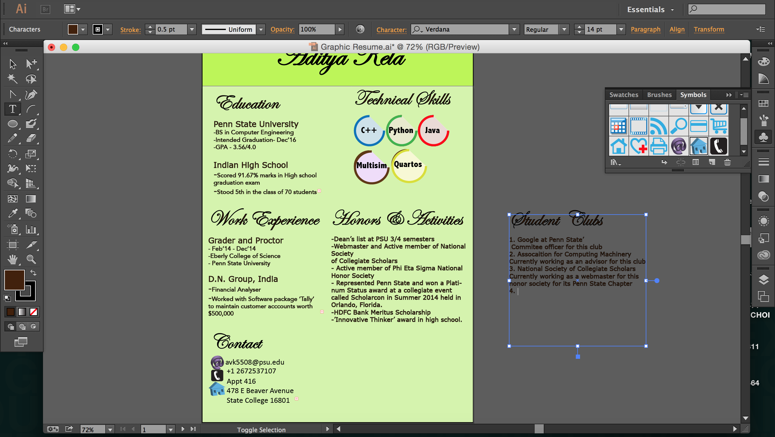 graphic resume and adobe illustrator art003 blog