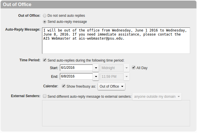UCS Out of Office Screen