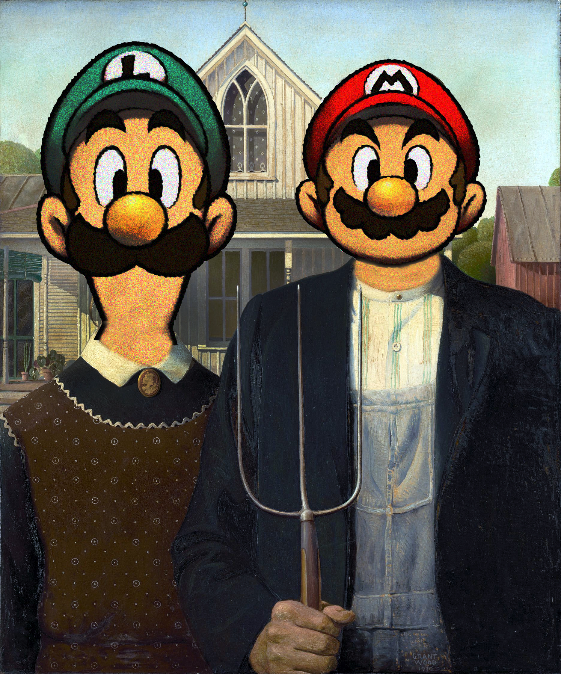 analysis american gothic American gothic – writing assignment i description: in the painting we see two people we see the farmer holding a hayfork and beside him is a woman.