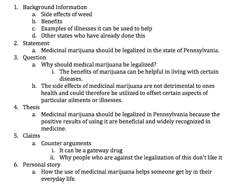 Legalization of marijuana essay outline