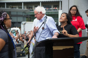Presidential candidate Bernie Sanders is interrupted during a campaign stop by Black Lives Matter activists