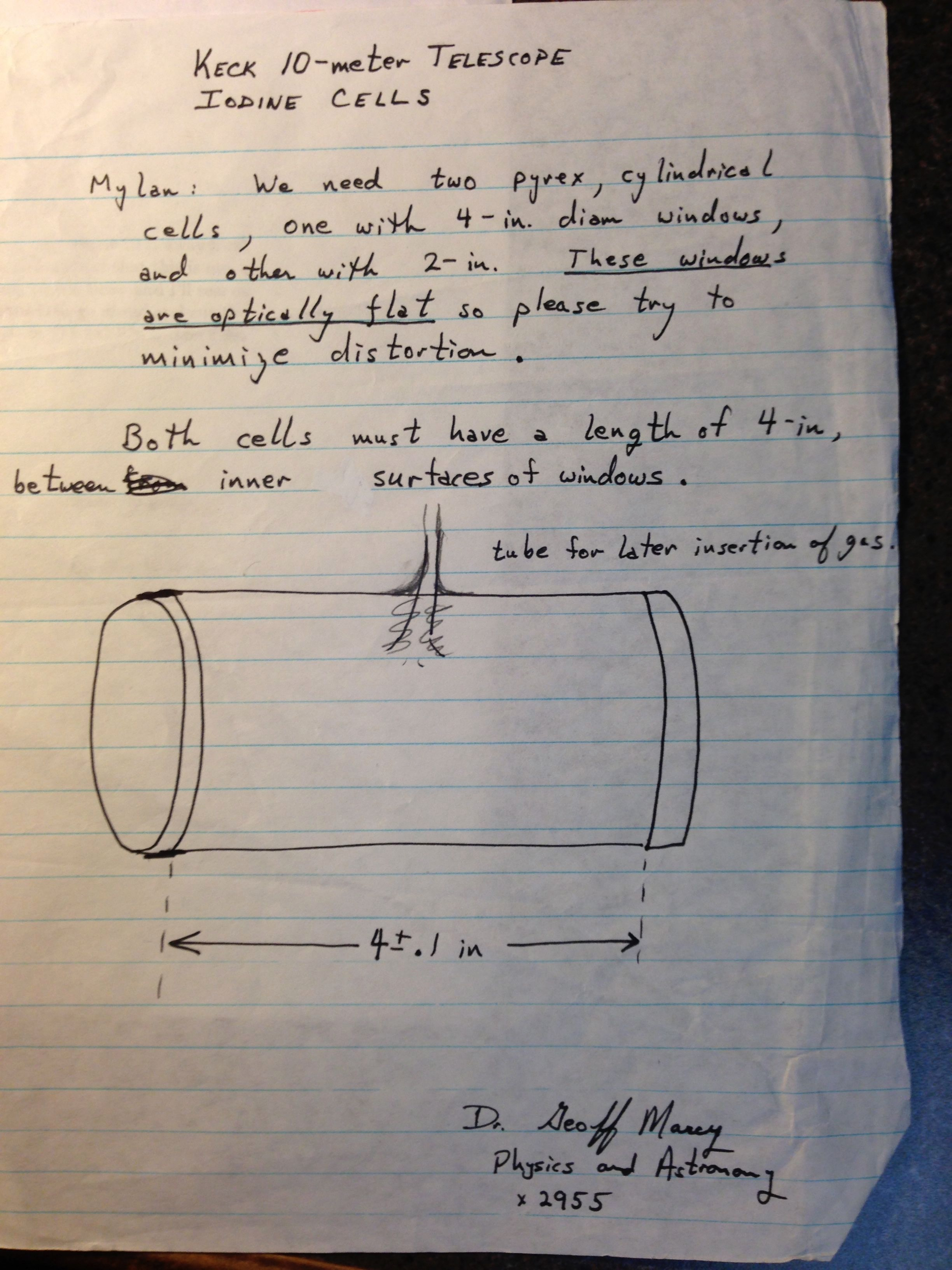 Notes on the construction of the iodine cell for Keck for SFSU glass blower Mylan Healy.