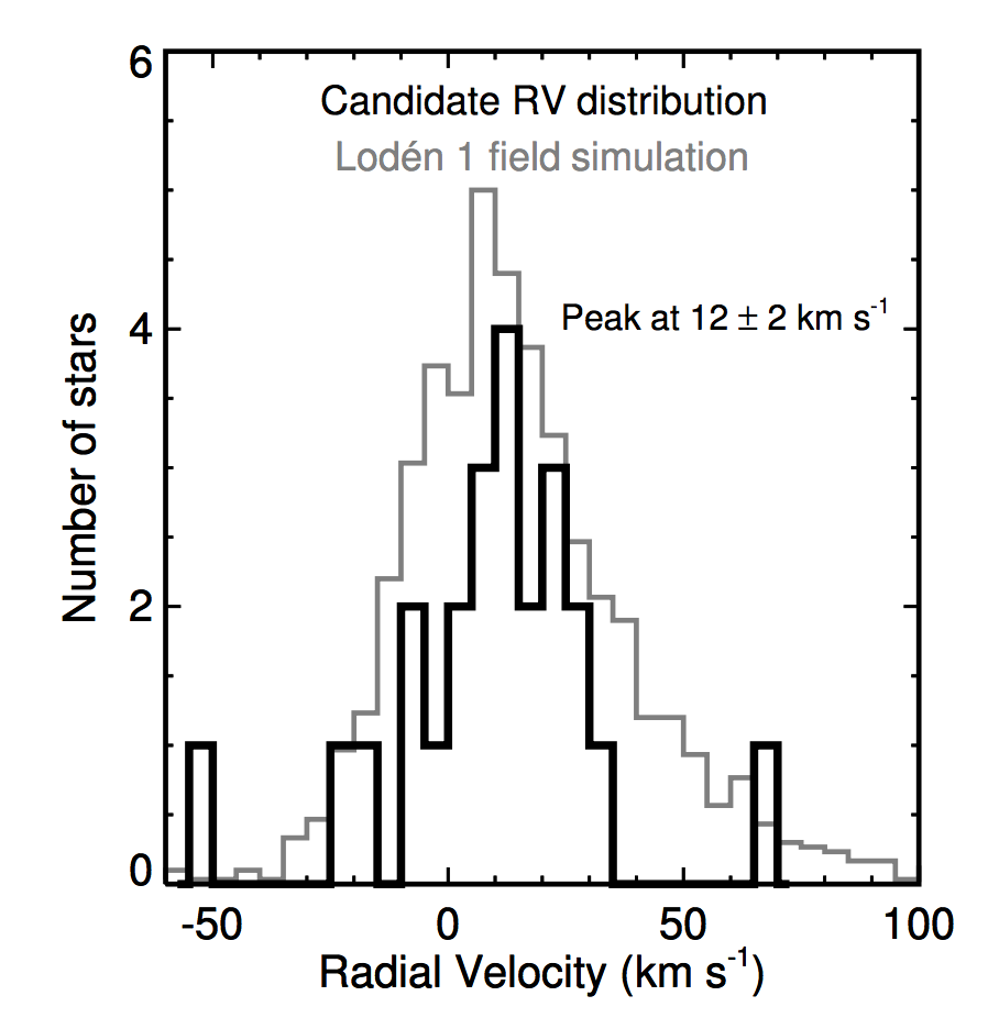 Radial velocity distribution of candidate Lodén 1 members. Nothing to see here; move along…