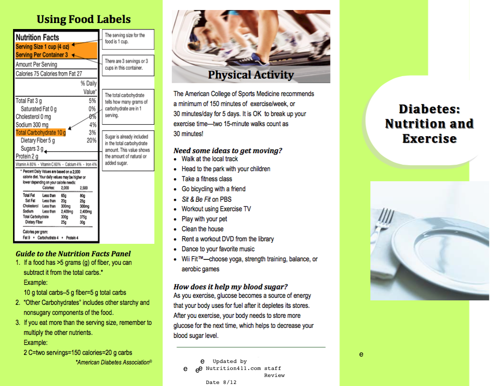 Diabetes brochure review for Nutrition brochure template