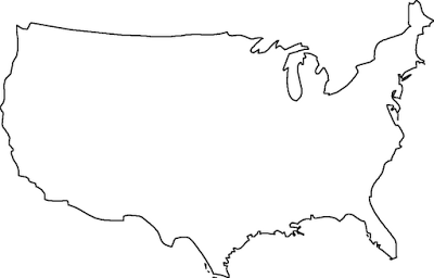 Blank Outline Map United States Sketch Coloring Page - Us map sketch