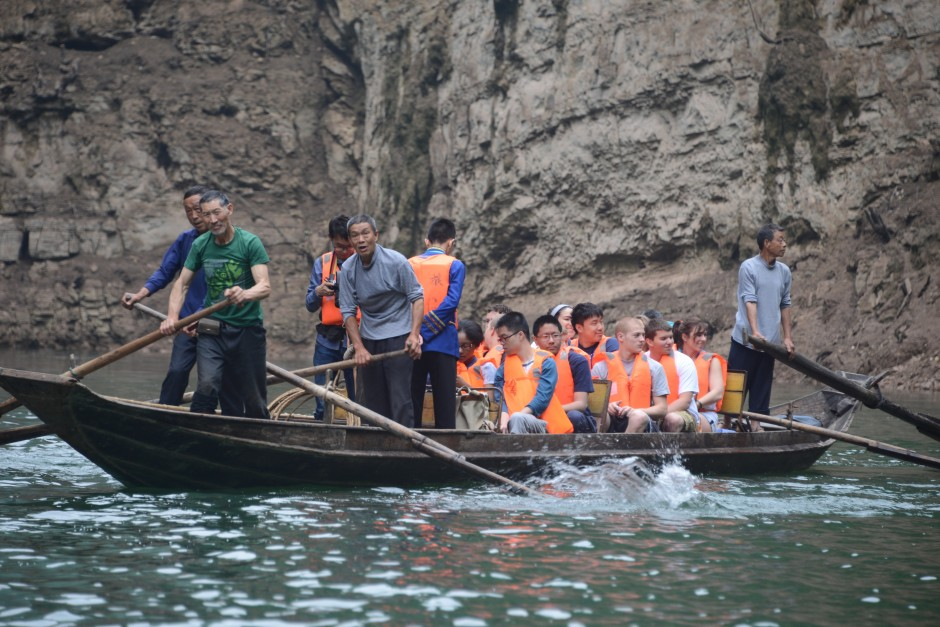 As part of their cruise up the Yangtze River, students got on some smaller boats to get a closer look at some of the gorges along the waterway's tributaries. (Photo credit: Curtis Chan)