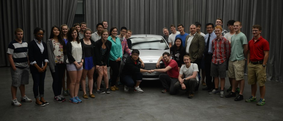 Students met with Marin Burela, president and CEO of Changan Ford. Burela showed the students the new Ford Escort designed and built exclusively for the Chinese market. (Photo credit: Curtis Chan)