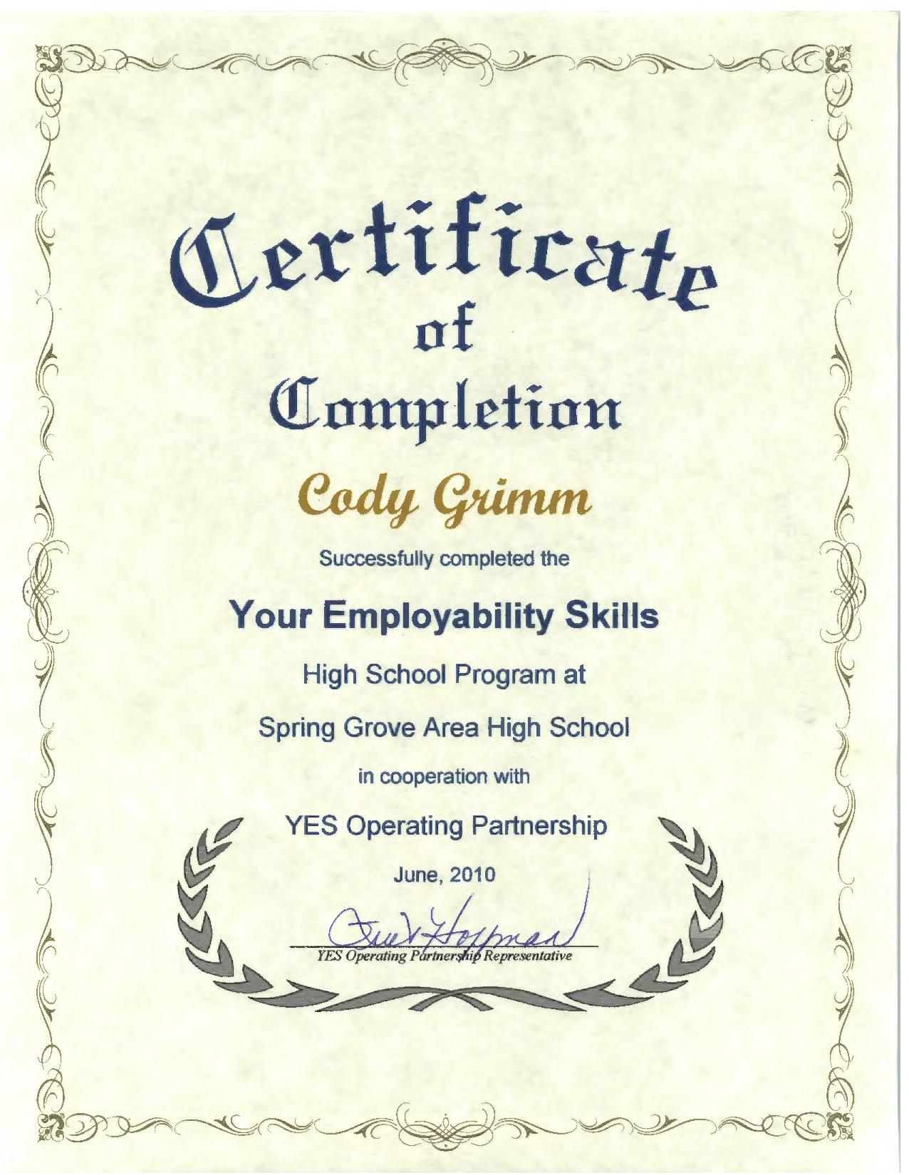 personal accomplishments your employability skills certificate awarded 2010