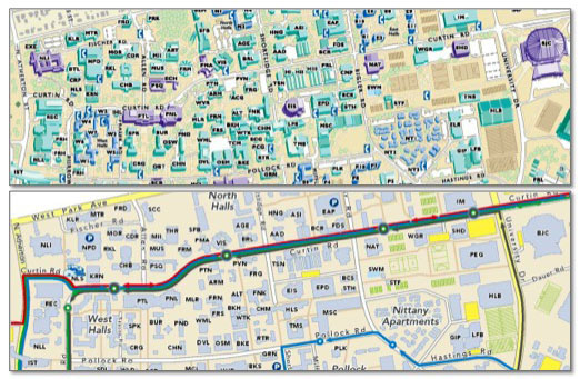 comparison of campus maps