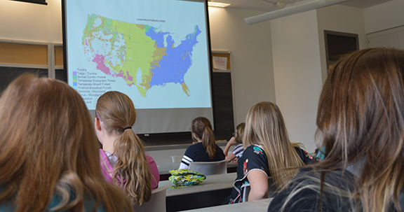 girls at SYWIG Day learn about physical geography