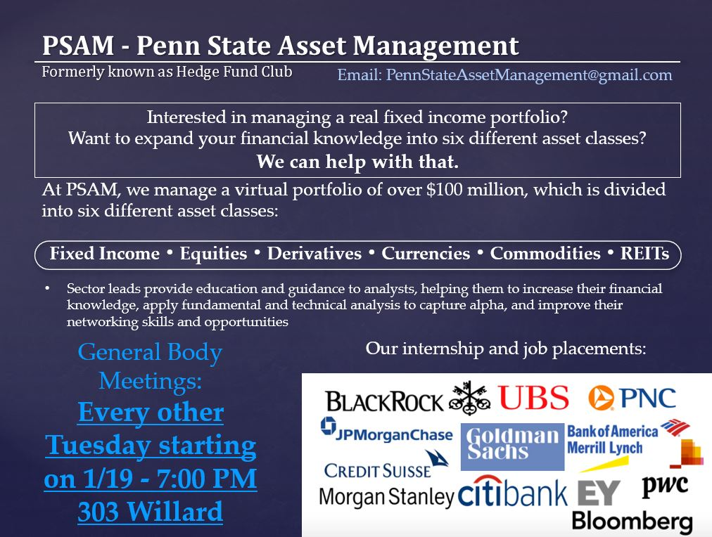 Penn State Asset Management Club Wants You