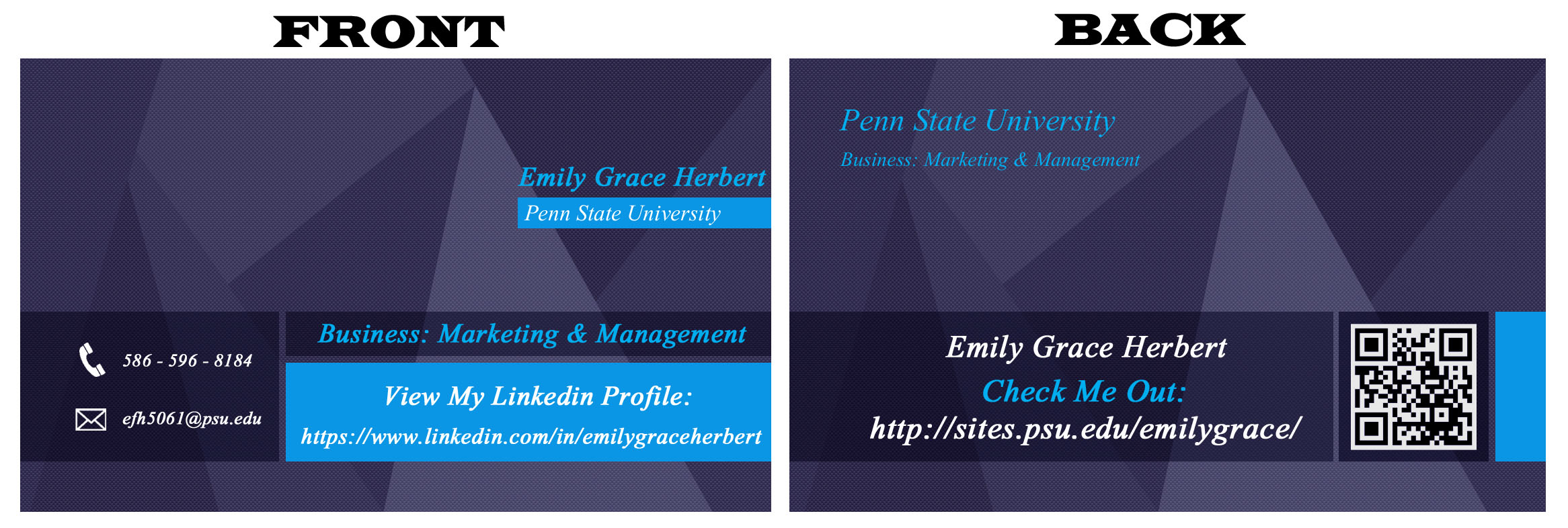 Business card emily grace herbert front and back of business card colourmoves