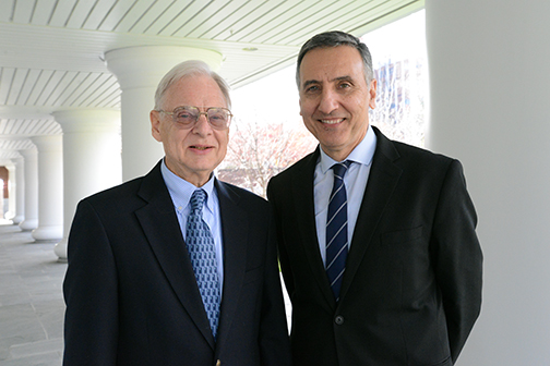 David Wormley, left, will retire as dean of the Penn State College of Engineering after a 21-year tenure. He will be succeeded by Amr Elnashai, right, currently head of civil and environmental engineering at the University of Illinois. (Photo credit: Curtis Chan)