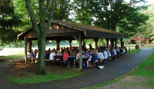 WEP members enjoy the food and sunny skies at Spring Creek Park.