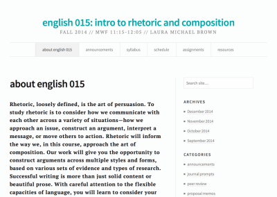 english 015: intro to rhetoric and composition