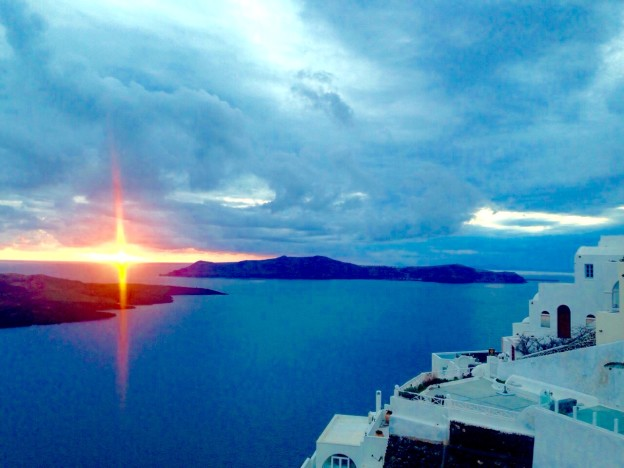 View of the sunset from Fira