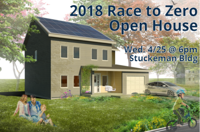 Open House Flyer with one single-family home rendering with two people sitting in grass looking at the house