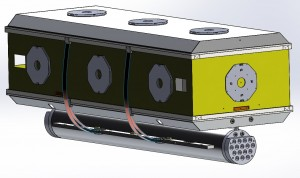 Radiation shield with liquid nitrogen tank, heater panels (stop sign shapes), and thermal straps connection nitrogen tank to radiation shield.
