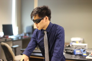 IESE student, Andrew Lee, designing the LED light modules.