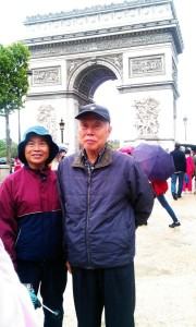 My grandparents standing proudly in front of the Arc de Triomphe