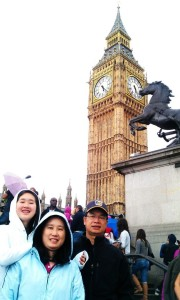 My sister and parents posing in front of Big Ben.