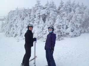 My sister and I stuck to skiing after an unfortunate attempt at snowboarding.