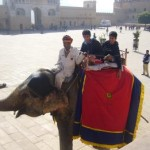 Riding an elephant in Jaipur (India)