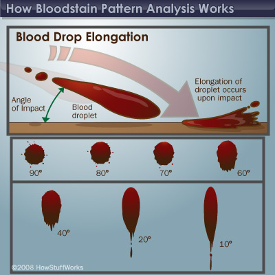 blood splatter analysis Because'bloodbehaves'accordingtocertain'scientific'principles,'trained bloodstainpatternanalysts'canexamine'the'blood'evidence'left'behind'[and.