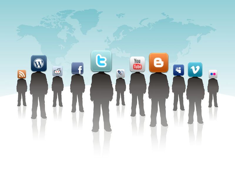 Social Meda Icons in place of human heads