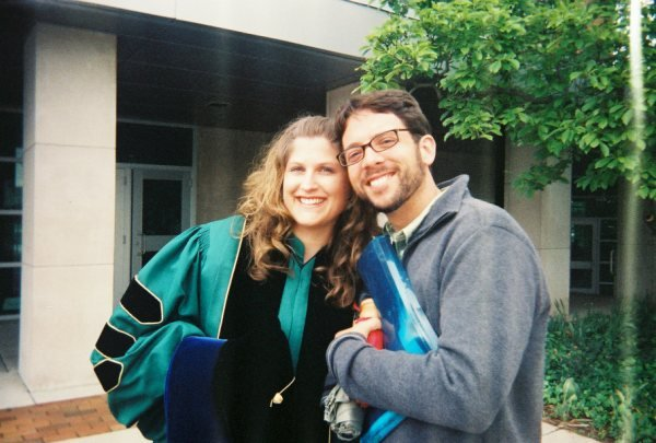 May 2010 at my PhD graduation from Michigan State University.  With my husband Dan, also Spartan alum.