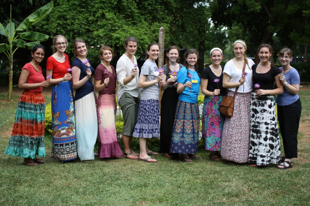 2014 Malini Summer Fellows pose with their parting gift from a village school in lunugamvehera, Sri Lanka.