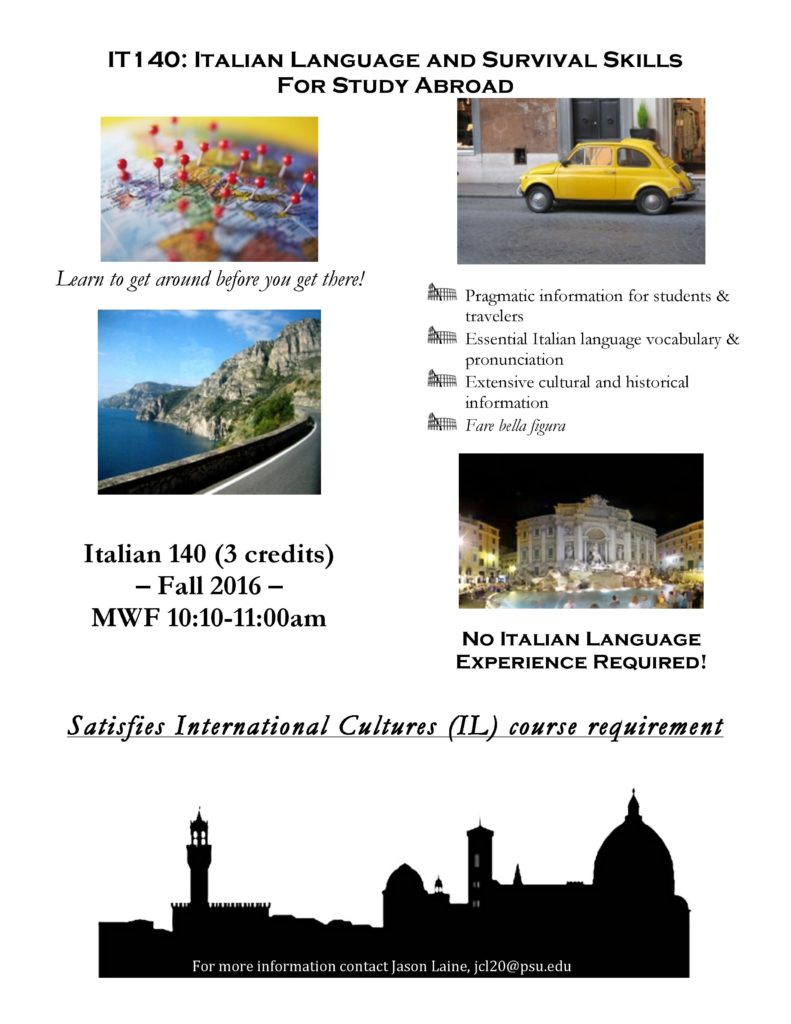 IT 140 Italian Language and Survival Skills for Study Abroad!