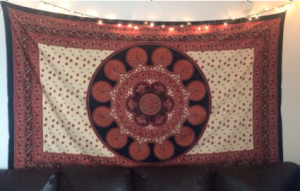 The tapestry over my apartment's sofa