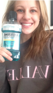 Sam with her favorite product!