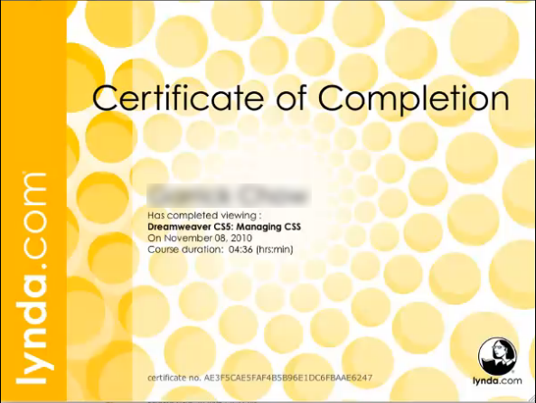 A certificate of completion that contains the name of the individual, the course completed, and the date completed.