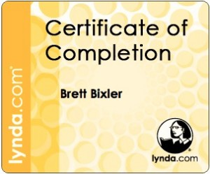 Sample certificate from lynda.com with the individual's name on it.