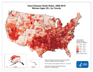 Incidence of heart disease related deaths across the U.S.