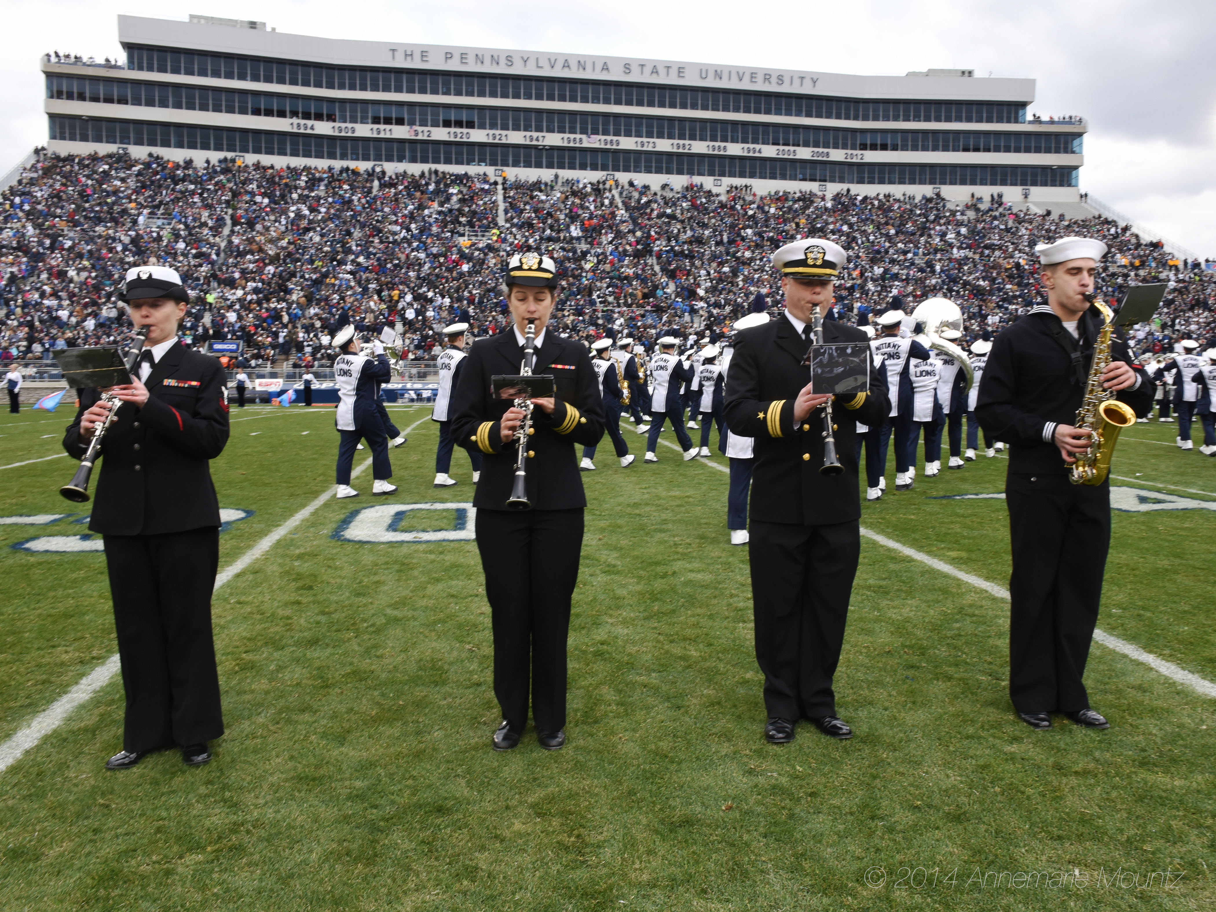 Penn State Blue Band alumni on active duty returned to Beaver Stadium to perform with the band for Military Appreciation Day, Nov. 15, 2014.