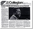 Daily Collegian: King's deeds and dreams remembered, 1989.