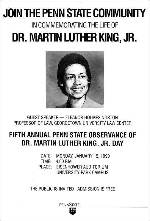 1990 poster highlighting Eleanor Holmes Norton, Esq., Professor of Law, Georgetown University Law Center